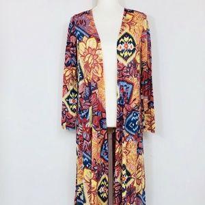LULAROE Sarah Sweater L/S Pockets Aztec Print Sm